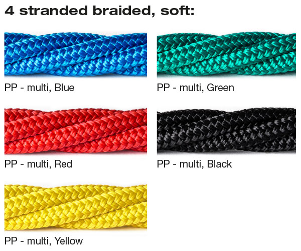 4 stranded braided, soft, colours